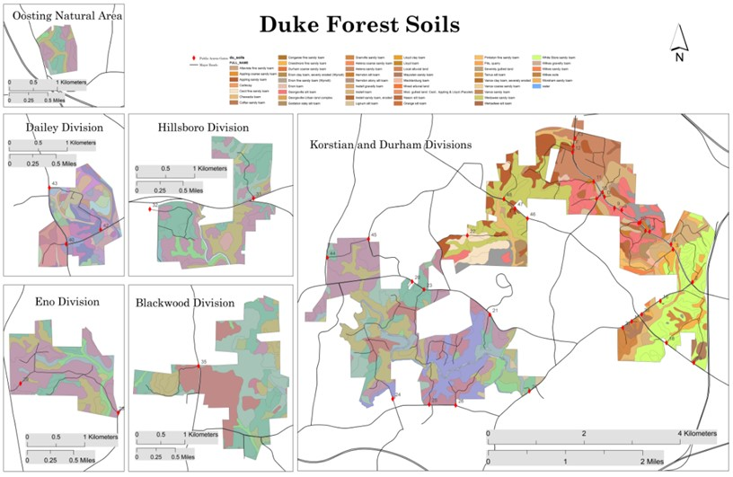Map of Soil Types in the Duke Forest