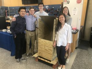 Engineering undergrads with their mast collector prototype (Fall 2018). Read more about it by clicking the image.