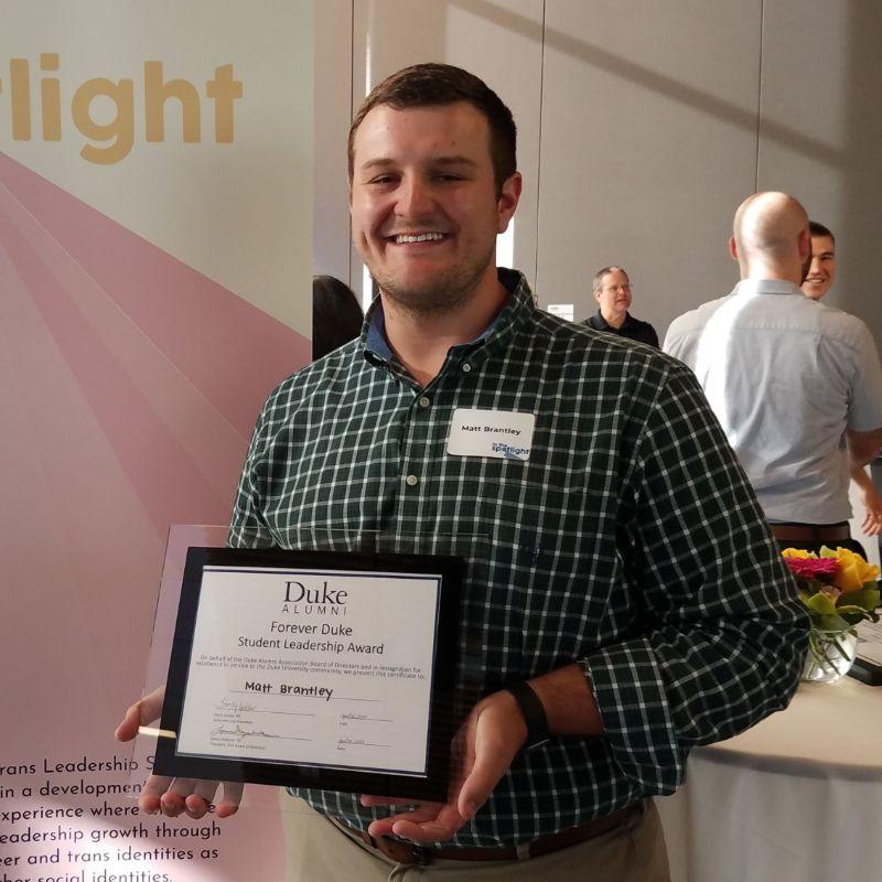 Matt Brantley with Forever Duke Award