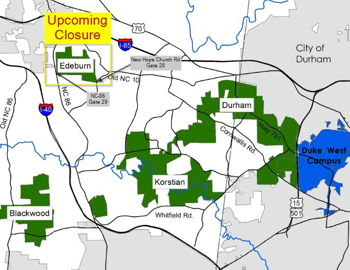Map showing Edeburn Division closure
