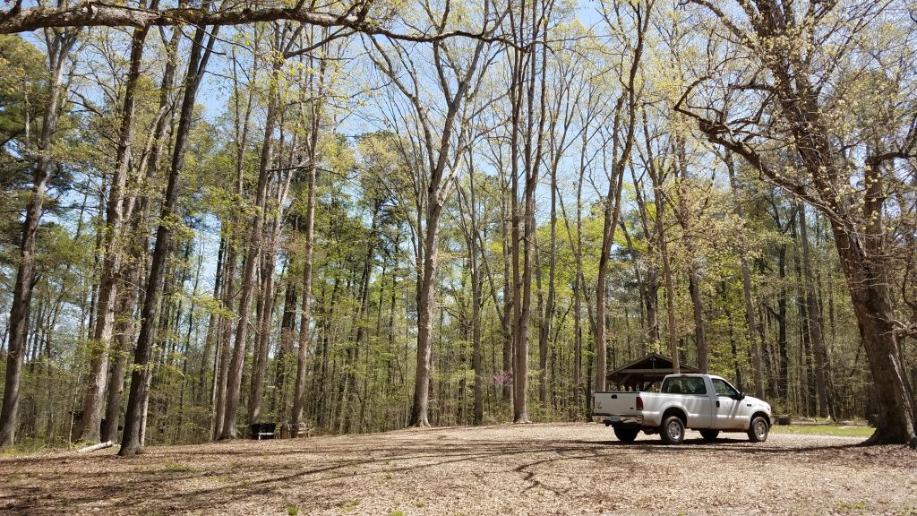 Duke Forest truck at Gate F shelter in springtime