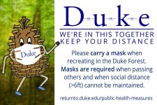 "Duke ""we're in this Together"" distancing graphic with Pine Cone Man wearing a mask and description of mask rule"